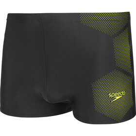 speedo Tech Placement Bañador Hombre, tech black/fluo yellow